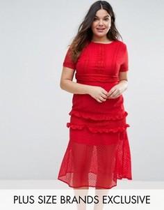 Кружевное платье миди Truly You - Красный