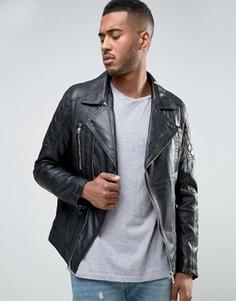 Байкерская кожаная куртка Barneys - Черный Barneys Originals