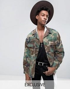 Куртка в стиле милитари с камуфляжным принтом Reclaimed Vintage - Зеленый