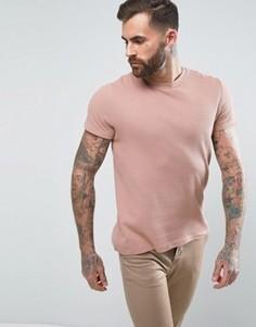 Светло-розовая фактурная футболка с вафельной текстурой ASOS - Розовый