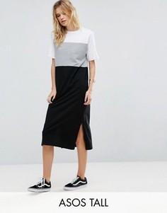 Платье миди в стиле колор блок ASOS TALL - Мульти