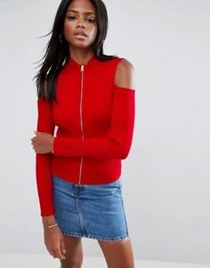 Кардиган с открытыми плечами и застежкой-молнией ASOS - Красный