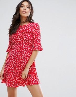 Платье с цветочным принтом Influence - Красный