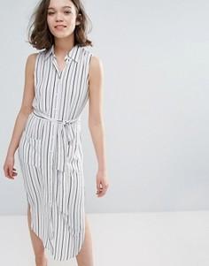 Платье-рубашка в полоску без рукавов Pixie & Diamond - Белый