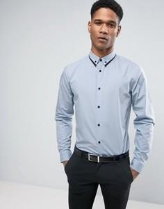 Голубая рубашка классического кроя с отделкой на воротнике New Look - Синий