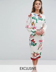 Платье миди с цветочным принтом и рукавами клеш True Violet - Мульти
