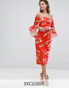 Красное платье миди с цветочным принтом, широким вырезом и оборками на рукавах True Violet - Мульти