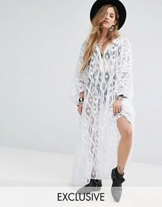 Платье-туника макси из кружева кроше Reclaimed Vintage Inspired - Белый