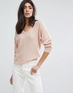 Кашемировый свитер с V-образным вырезом и свободным рукавом Jaeger - Розовый