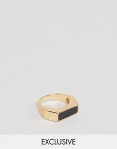 Золотистое кольцо геометрической формы с камнем DesignB London - Золотой