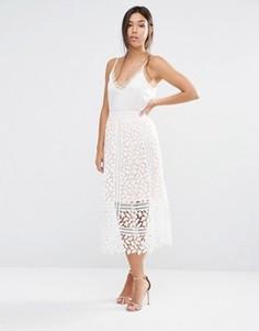 Кружевная юбка с прорезным узором Boohoo - Белый