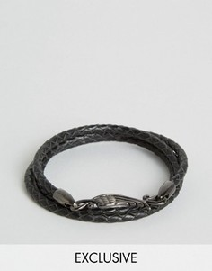 Плетеный кожаный браслет Simon Carter эксклюзивно для Asos - Черный
