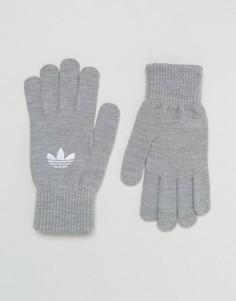 Серые перчатки с логотипом‑трилистником adidas Originals AY9339 - Серый