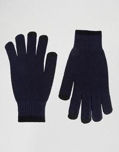 Темно-синие фактурные перчатки ASOS - Синий