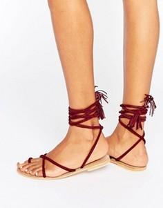 Замшевые сандалии с завязками ASOS FALIA - Красный