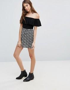 Мини-юбка с принтом Brave Soul - Черный