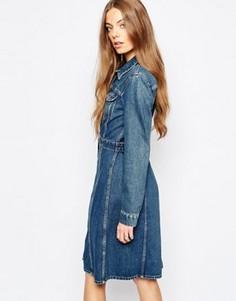 Джинсовое платье на пуговицах M.i.h Jeans - Синий