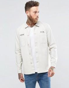 Рубашка навыпуск в стиле милитари с нашивкой ASOS - Stone