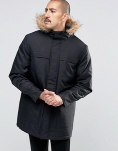 Парка с искусственным мехом на капюшоне Troy - Черный
