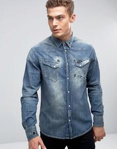 Состаренная джинсовая рубашка Wrangler - Темно-синий
