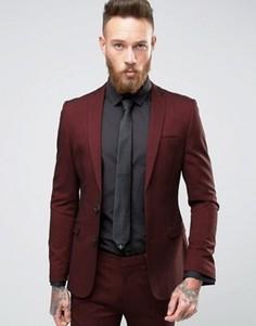 Бордовый супероблегающий пиджак ASOS - Красный