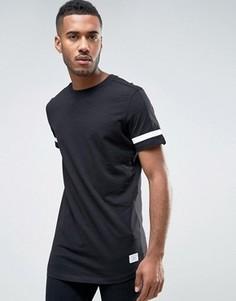 Удлиненная футболка с полосами на рукавах, вставкой на спине и декоративными завязками Jack & Jones Core - Черный