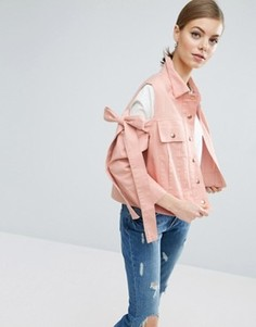 Куртка с вырезами на плечах и бантами ASOS - Розовый