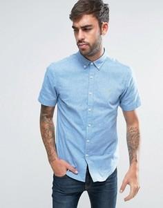 2-цветная оксфордская рубашка узкого кроя на пуговицах с короткими рукавами Farah Steen - Синий