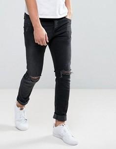 Черные узкие джинсы с дырками на коленях Jack & Jones Intelligence - Синий