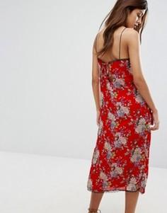 Платье-комбинация макси с цветочным принтом Wyldr Castaway - Красный