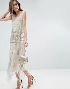 Платье мини с кисточками и V-образным вырезом на спине ASOS GOLD - Кремовый
