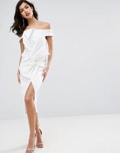 Платье миди с открытыми плечами и бантом ASOS PREMIUM - Белый