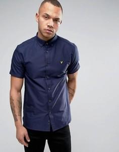 Темно-синяя оксфордская рубашка классического кроя с короткими рукавами Lyle & Scott - Темно-синий