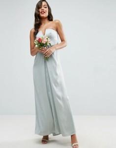 Платье-бандо макси со складками ASOS WEDDING - Зеленый