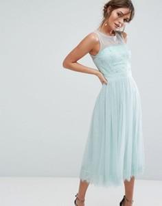Сетчатое платье миди с кружевом Little Mistress - Зеленый