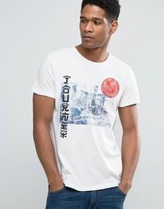 Футболка узкого кроя с японским принтом и круглым вырезом Esprit - Белый