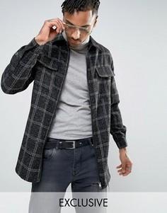 Черная фактурная рубашка в клетку на молнии Mennace - Черный