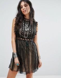 Вечернее платье с кружевной отделкой Free People Forever - Черный