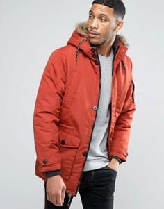 Утепленное пальто с искусственным мехом на капюшоне Threadbare - Оранжевый