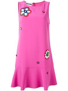 платье с цветочной аппликацией Moschino