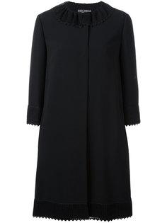 пальто с вязаным воротником Dolce & Gabbana