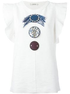футболка с оборками на рукавах и отделкой Dorothee Schumacher
