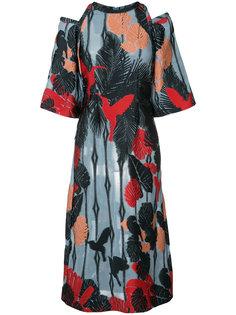 платье с принтом птиц Yigal Azrouel
