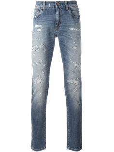 прямые джинсы с рваными деталями Dolce & Gabbana