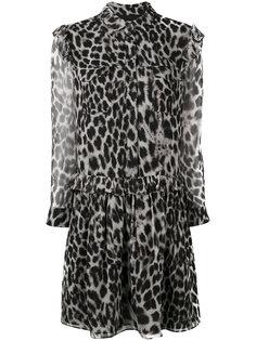 платье с животным принтом и рюшами Burberry