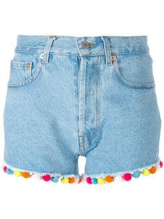 джинсовые шорты с помпонами Forte Couture