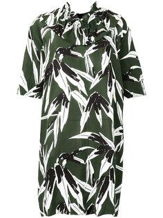платье с рюшами и растительным принтом Marni