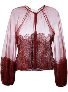 вышитая блуза с рукавами-фонарик Christian Dior Vintage