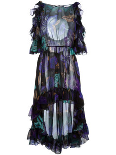 асимметричное платье с оборками  Alberta Ferretti