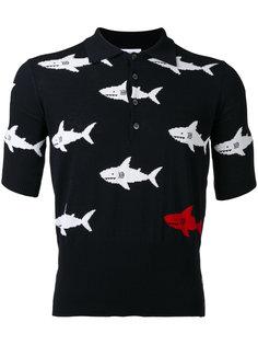 футболка-поло кроя слим с принтом акул  Thom Browne